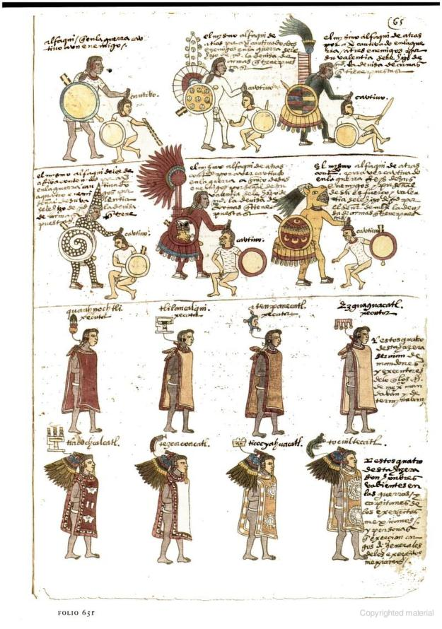 Codex Mendoza Facsimile Folio 65r (about 1542) - From The Essential Codex Mendoza by Frances F. Berdan and Patricia Rieff Anawalt