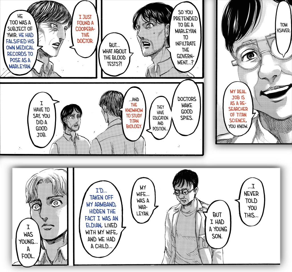 Is there a possible connection between Tom Ksaver (Beast Titan) and Eren Kruger (The Owl) in the Shingeki no Kyojin manga?