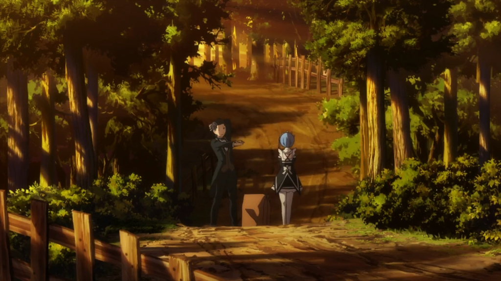 Rem and Subaru walking through the forest after their date was my favorite scene of this episode! Re Zero S1 Episode 1