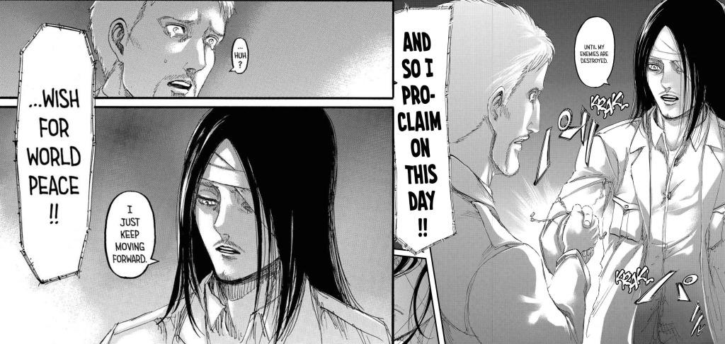 Eren tells Reiner that he keeps moving forward before the attack on Liberio in Shingeki no Kyojin manga chapter 100