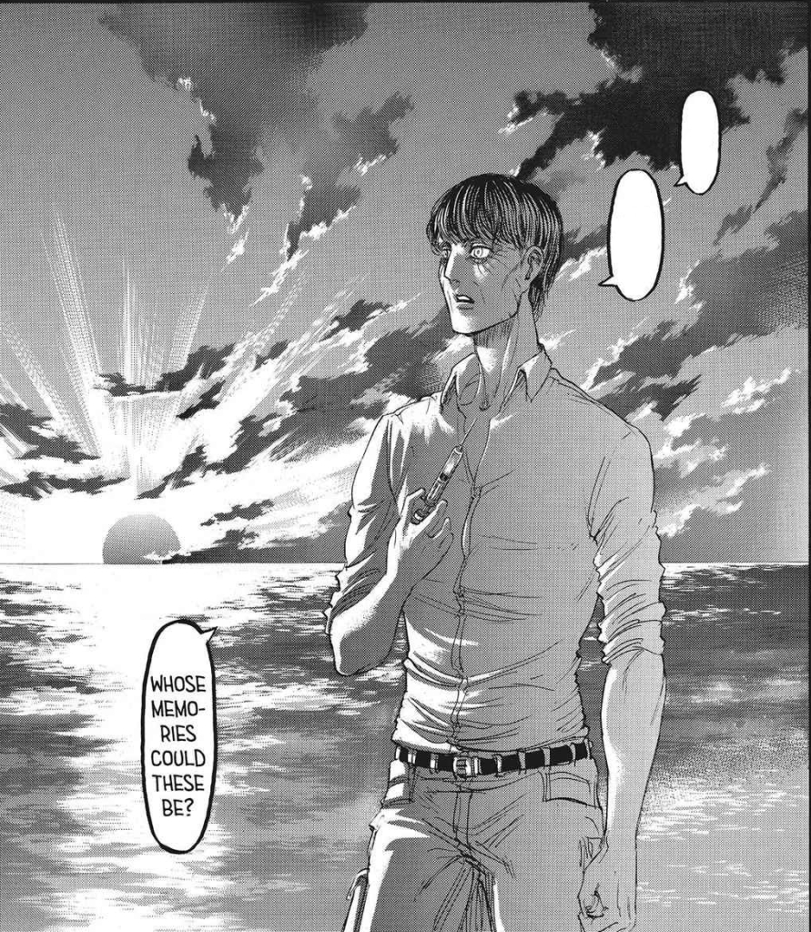 """""""Armin? Mikasa? Who are they"""" """"Hmm who knows? Whose memories are those?"""" - Eren Kruger wonders whose memories he was seeing. Attack on Titan manga chapter 89"""