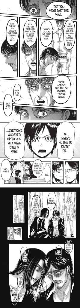 A compilation of Eren telling Grisha to keep moving forward in Shingeki no Kyojin chapters 01, 88, and 121, respectively.