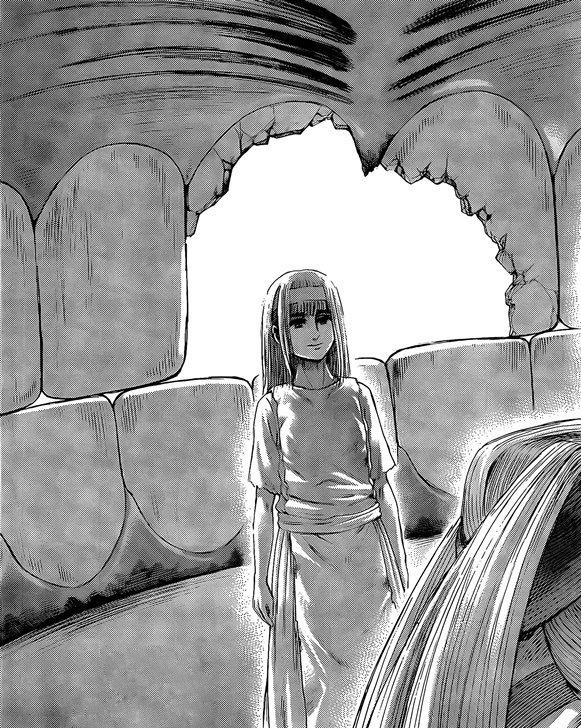 Ymir looks so pleased with herself over these scene... plus - she is drawn with clear eyes. Shingeki no Kyojin manga chapter 138