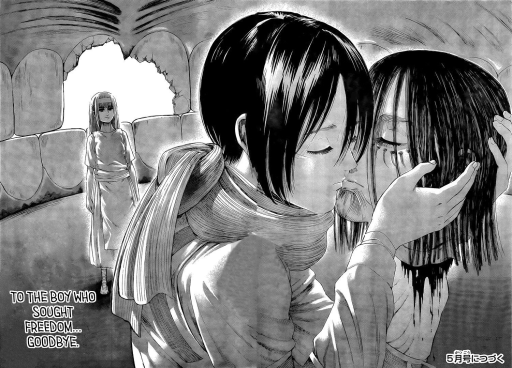 Also...We're totally being trolled with this Eren and Mikasa kiss scene. lol - Shingeki no Kyojin manga chapter 138