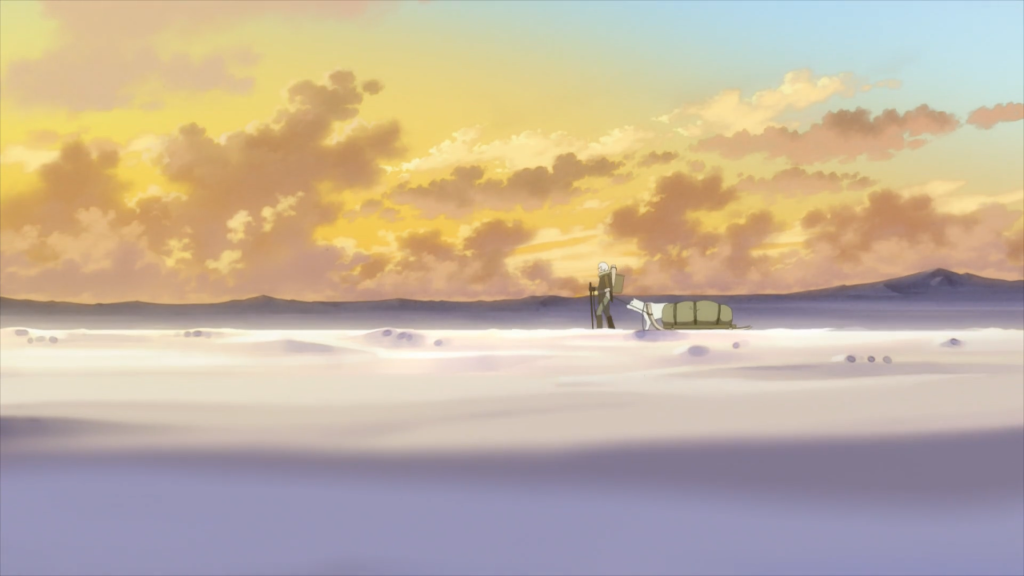 A boy and his dog trek the wintery tundra alone. To Your Eternity Episode 1