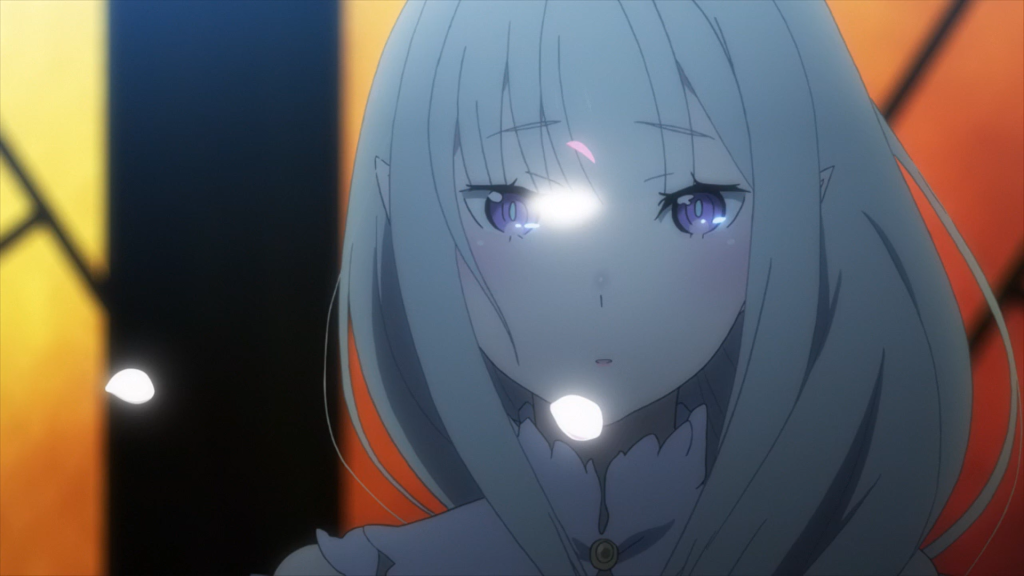 Subaru triggers the random cherry blossom event with Emilia - signifying his completion of the Roswaal Mansion arc loop. Re Zero Ep 5 (director's cut)