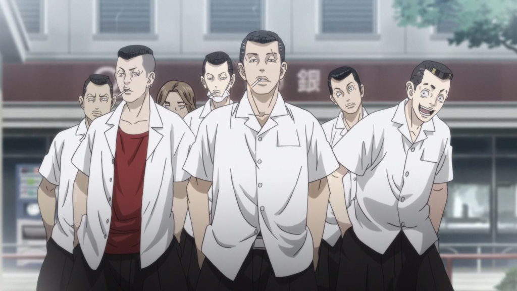 The Goon Squad strikes again!  (look at that guy on the right, though. Is he seriously going to try and take my lunch money? haha) - Tokyo Revengers Ep 8