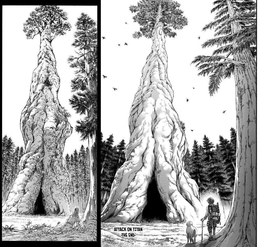 Eren Yeager and Ymir Fritz Founding Tree parallels. Ch 122 & 139 of the Shingeki no Kyojin manga, respectively.