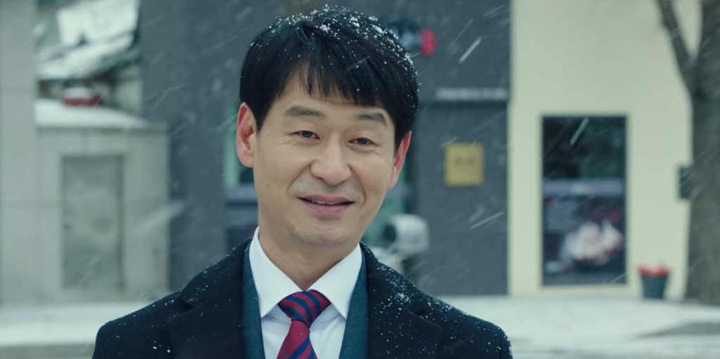 Our last glimpse of Prosecutor Jin in the snow - looking slightly worried. Law School Episode 16.