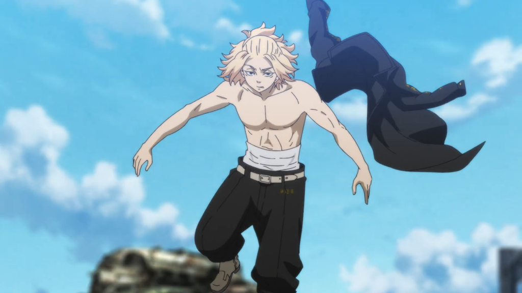 """Teenager Manjiro """"Mikey"""" Sano unleashes his shirtless shonen floating form on a campy Bloody Halloween. Tokyo Revengers Episode 19"""