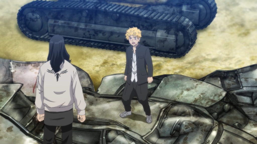 Baji's spotless, clean white Valhalla jacket without a speck of blood after receiving a fatal stab wound from Kazutora. (Also, why is there a tank behind Takemitchy? haha) Tokyo Revengers Episode 20