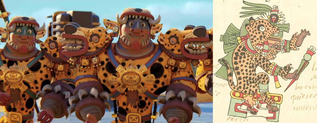"""Jaguar Warriors from Maya and the Three on the left, Tepeyollotl the Aztec God from the Codex Telleriano-Remensis (abt. 1550) on the right. Tepeyollotl is a God whose name means """"Heart of the Mountain"""", and is associated with earthquakes and other seismic activity. According to the Codex Telleriano-Remensis Tepeyollotl is also known as """"Tepeolotlec"""". Tepeolotlec is a name derived from the apperance of earthly lands after great floods, while the literal translation is 'dirt sacrifices' pertaining to the rituals surrounding this deity. This god is also associated with the Feast to the Jaguar, Jaguar Warriors, and is recognized as 'Lord of Beasts'. In pre-columbian American culture the pure black Jaguar was associated with strength, and in some legends its roar was a symbol of life that """"awakens in the mountains....a survival of the flood"""" activities in the area."""