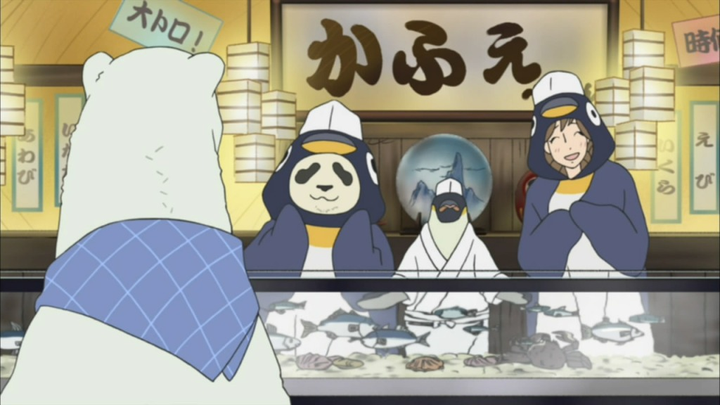 Panda-kun and Sasako dress up as penguins in one of Polar Bear's elaborate skits. From the Shirokuma Cafe anime.