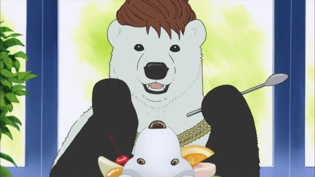Polar Bear makes a gag surrounding the late famed actress Audrey Hepburn.  From the Shirokuma Cafe anime.