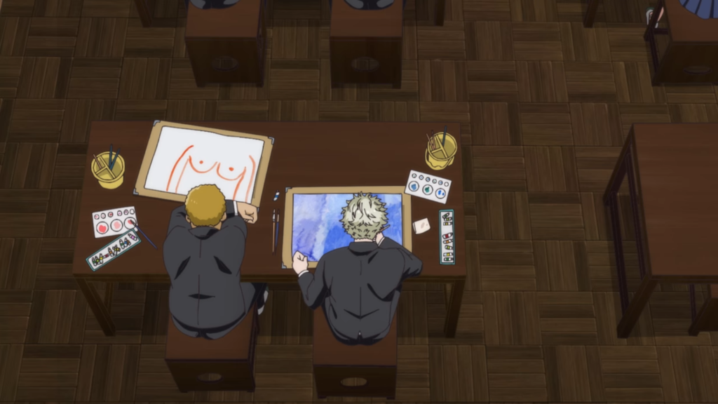 I love the juxtaposition of Yatora mixing, painting, and drawing his heart out while his delinquent friend beside him just drew his girlfriend's tits in what looks like orange crayon. From Blue Period Ep 1