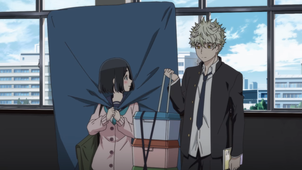 Mori senpai and Yatora making a connection over their shared interest in art. From the Blue Period series premiere