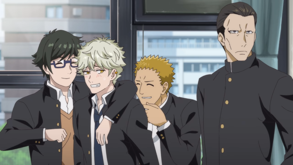 Yaguchi Yatora blushing as his delinquent friends finally recognize his art. From Blue Period Episode 1